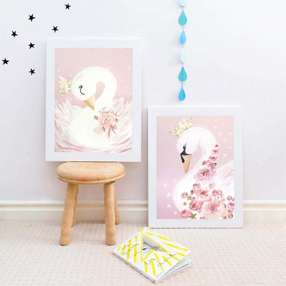 Home Peinture Cygne Princesse Posters Toile Peinture Bébé