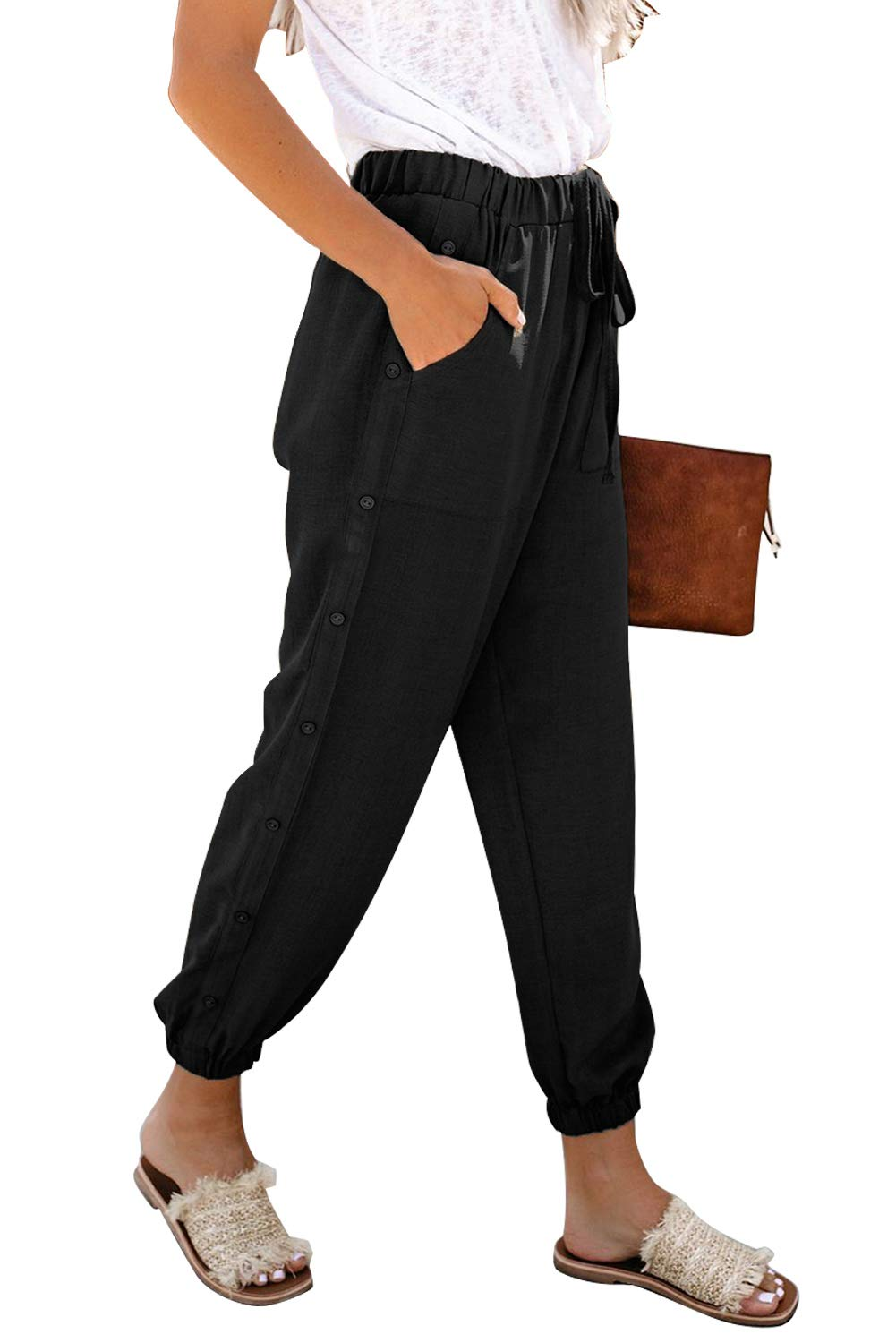 NEWFANGLE Women\'s Linen Casual Pants Drawstring Elastic Waist with Pockets Solid Comfy Loose Fit Trousers,Black,S