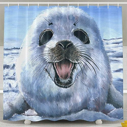 Harp Seal Painting Wallpaper Soft Fabric Shower Curtain 60