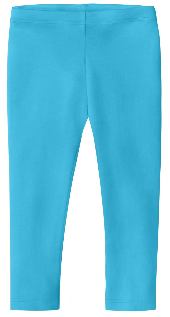 City Threads Baby Girls' Cotton Cropped Capri Summer Legging for Play and School SPD for Sensitive Skin Sensory Friendly, Turquoise, 12-18 m