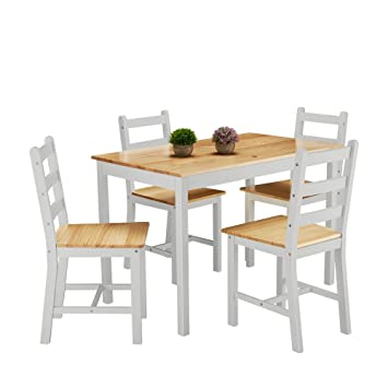 Solid Wood Dining Table And 4 Chairs Set Grey Amazon Co Uk
