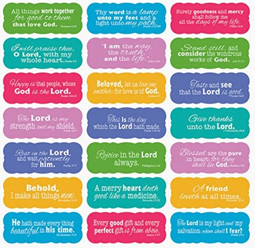 Scripture Stickers (Set of 42 Stickers with 21 Bible Verses in White Scroll; -