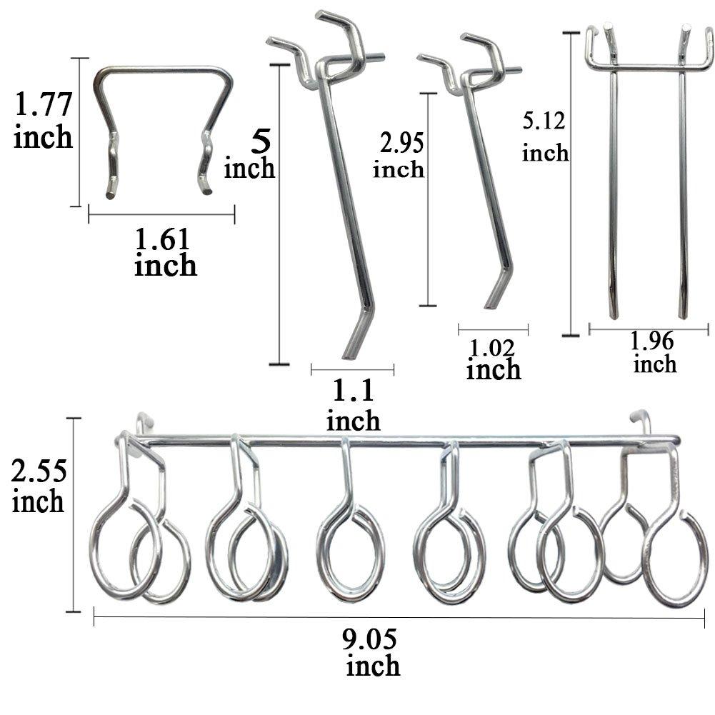Pegboard Hooks Assortment - 50Pcs Peg Hook Organization by Apoulin (Image #3)