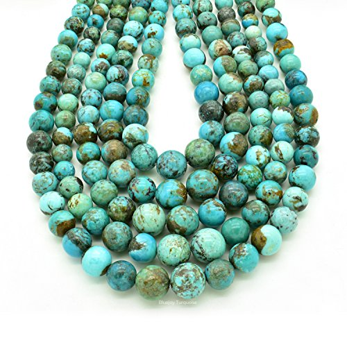 Bluejoy Genuine Natural American Turquoise Round Bead 16 inch Strand for Jewelry Making (4-8mm) ()