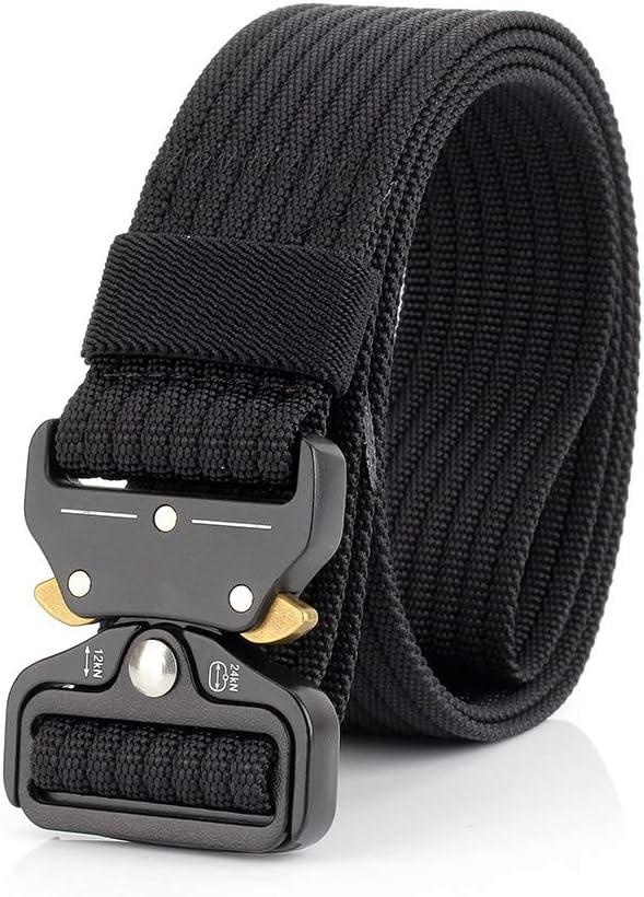 WL Mens Tactical Belt Heavy-Duty Ribbon Belt Adjustable Military Style Nylon Belt with Metal Buckle