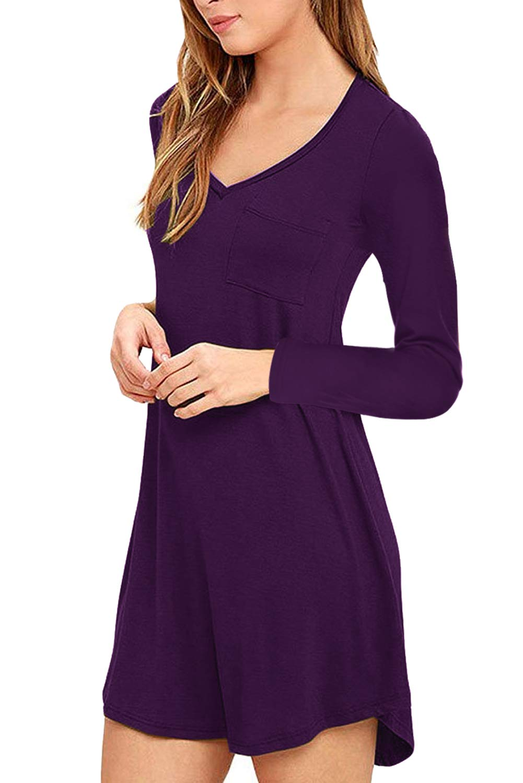 Eanklosco Vestido con Cuello en V para Mujer Columpio con Volantes Simples Manga Larga Loose Casual Llanura Camiseta Bolsillos de Vestir (Púrpura, XL)