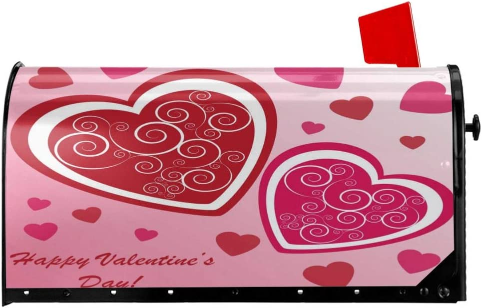 Delerain Valentines Day Love Heart Mailbox Cover Magnetic Mailbox Wraps Letter Post Box Home Garden Outdoor Decorative for Standard Size 21 x 18 in