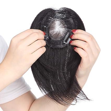 Extensiones de Cabello Natural Clip Prótesis Capilar Mujer Ampliar el Volumen en La Coronilla 100%