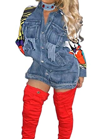 Coolred Women Hip Hop Button Down Cowboy Casual Denim Jacket