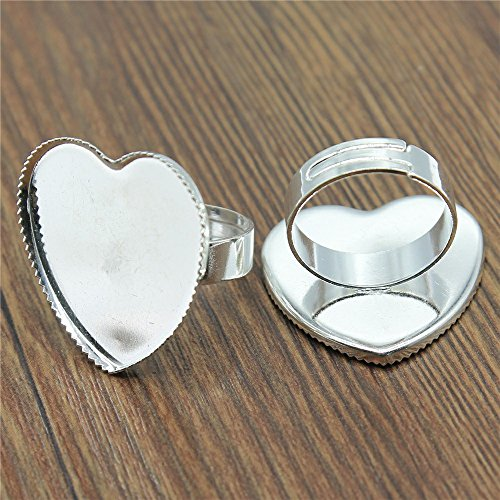 MEWME 12pcs Polpular Adjustable Ring Setting Fit 25mm Heart Resin Cabochon Stone Brass Cameo Base Bezels Women Jewelry Making Findings Diy Craft Supplies H327