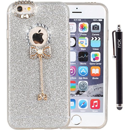 iPhone 6 Plus Case, iYCK 3D Handmade Cute Diamond Rhinestone Hybrid Glitter Bling Shiny TPU Soft Rubber Case Cover with Sparkly Bow Knot Crystal Pendent Charms for iPhone 6/6S Plus 5.5inch - Silver