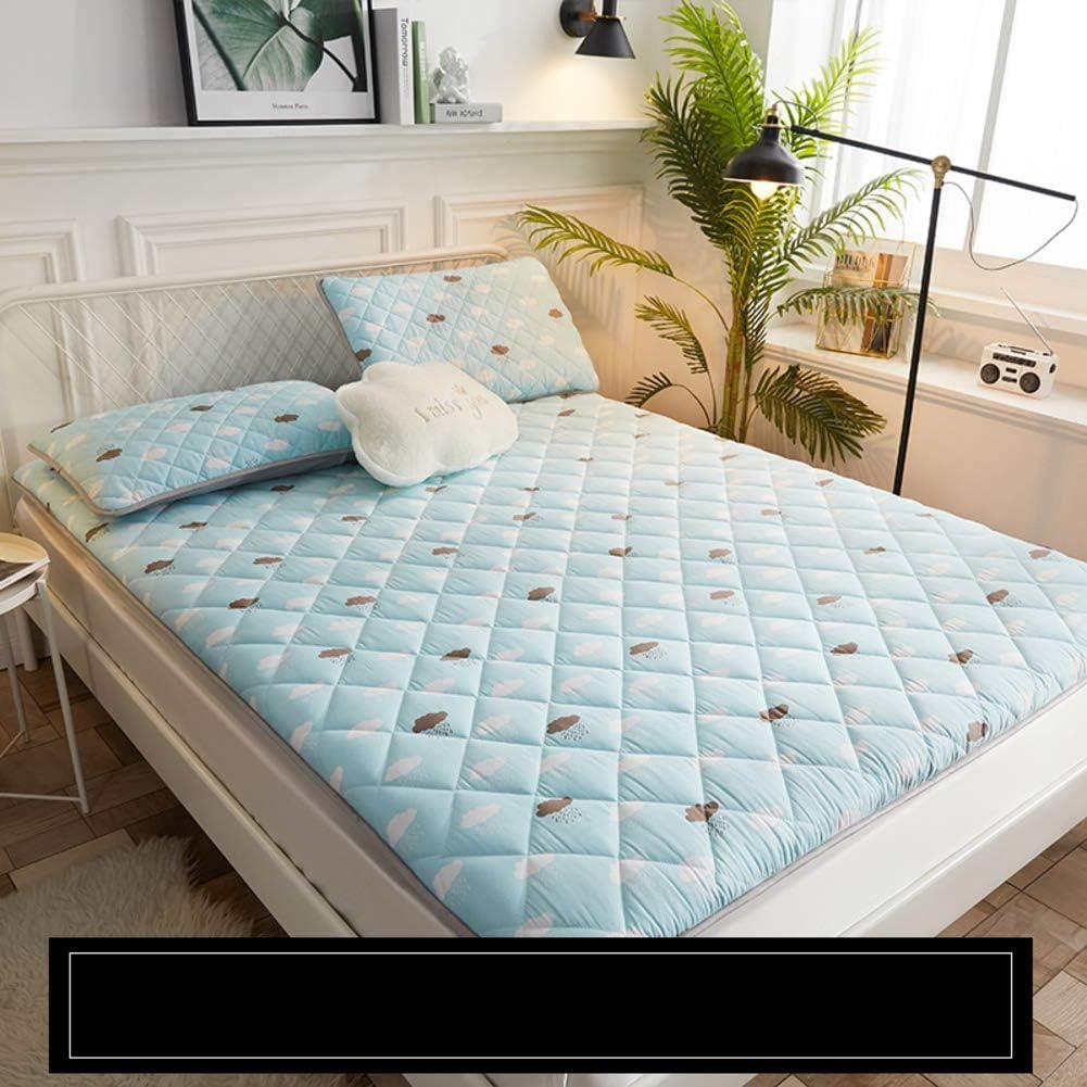 WAYERTY - Colchón de 2 cm de Grosor, diseño de Tatami, Acolchado y Transpirable, Materiales sintéticos, Azul Celeste, W150xH200cm(59x79inch)