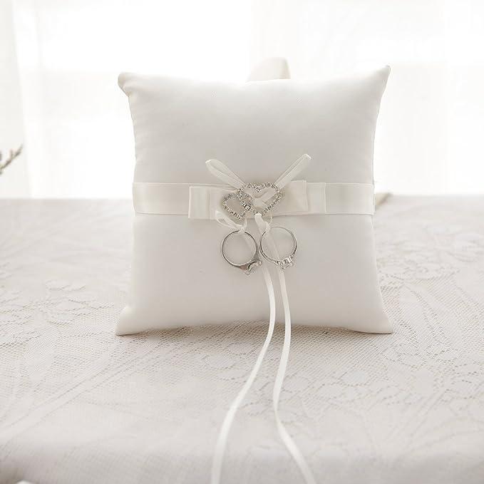 awtlife double-heart Rhinestone anillos de boda almohada ...