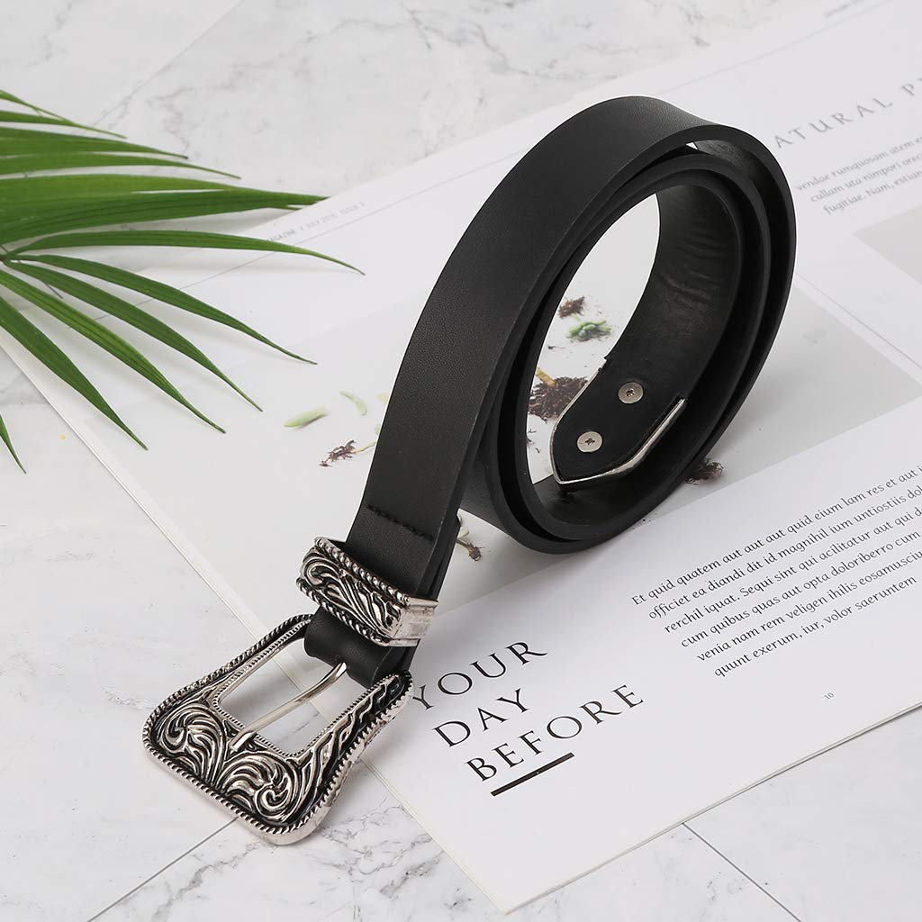 Fashion Women Womens Belts For Jeans Clothing Dress Simdoc Vintage Faux Leather Waist Belt With Flower Carved Metal Buckle