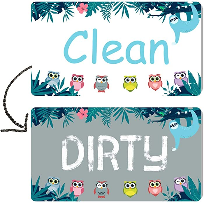 Dishwasher Magnet Clean Dirty Sign, Strongest Magnet waterproof Double Sided Flip Sign, With Bonus Adhesive Metal Magnetic Plate for non magnetic Dishwasher, Suitable for All Dishwasher