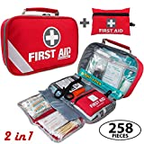 2-in-1 First Aid Kit (215 Piece) + Bonus 43 Piece Mini First Aid Kit - Includes Emergency Blanket, Bandage, Scissors for Home, Car, Camping, Office, Boat, and Traveling