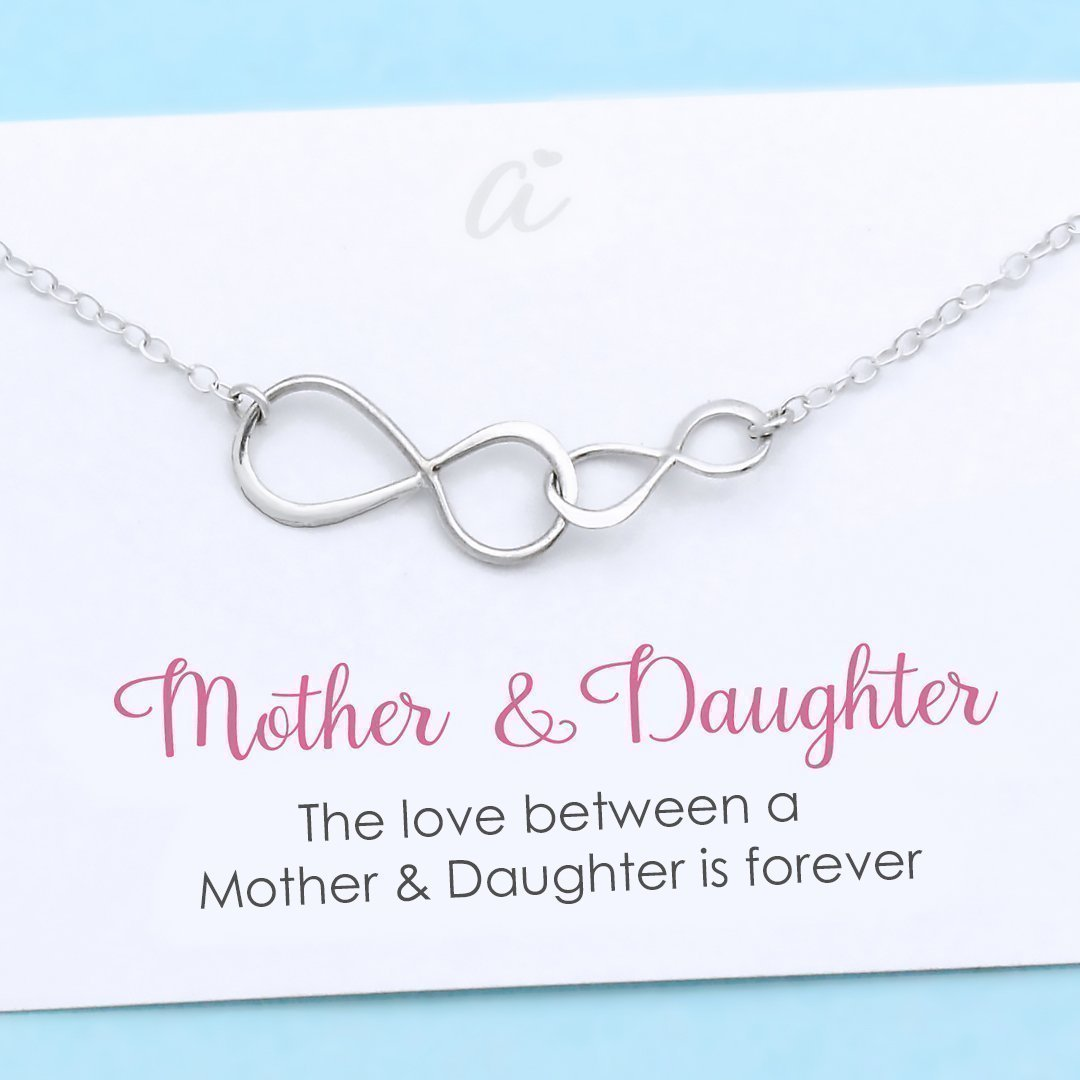 Mother and Daughter Necklace Sterling Silver Double Infinity Personalized Gift Birthday Christmas Wedding Infinite Love by A Charmed Impression