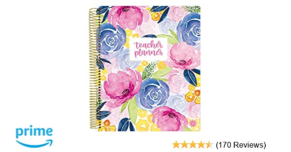 Bloom Daily Planners Undated Academic Year Teacher Planner Lesson Plan Calendar Book 9 X 11 Watercolor Floral