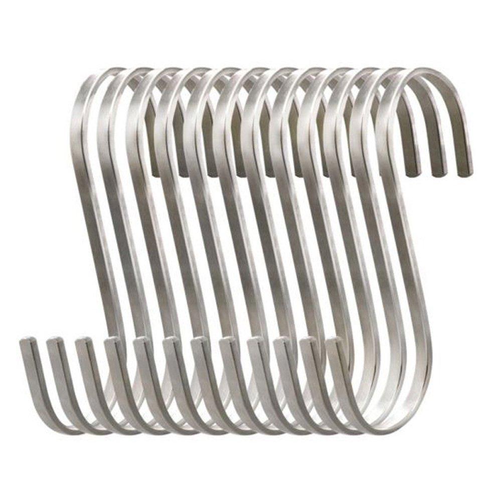 Howhome Premium Medium Flat S Hooks Stainless Steel S Shaped Hanging Hooks, Metal Kitchen Pot Pan Rack Accessory Hooks (Pack of 12)