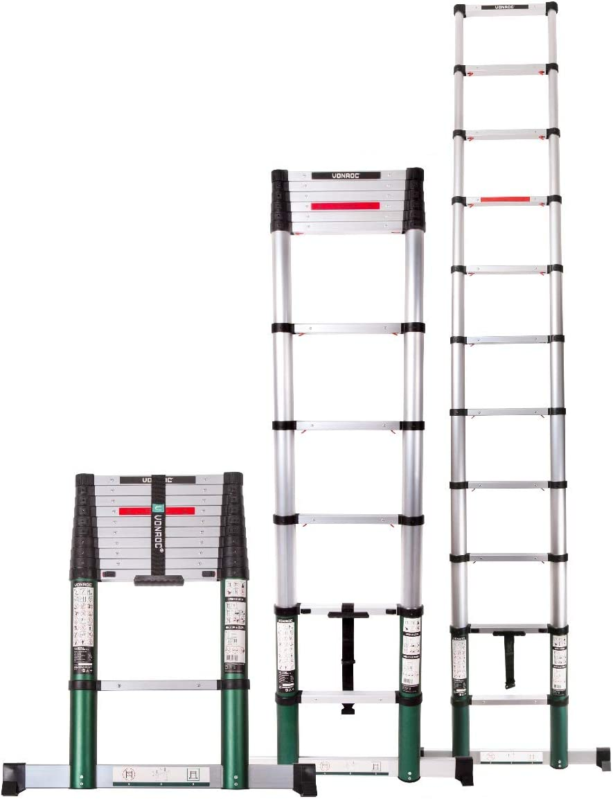3.2 metres according to DEKRA certification and EN 131 with soft close system and cross bar very robust and assembled for your safety VONROC Professional telescopic ladder