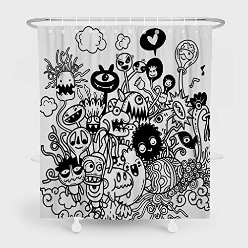 Summor Mildew Resistant Shower Curtains,Illustration Of Cute Hand-Drawn Halloween Doodles Painting Art Bath Curtain Liner - Waterproof Polyester Fabric Bathroom Decor Set With 12 Hooks - 72x78 Inch ()