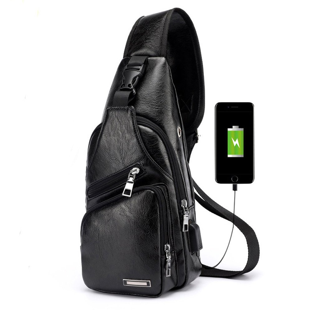 Travel Shoulder Cross Body Bag Sling Backpack Multipurpose Daypack Chest Bag with USB