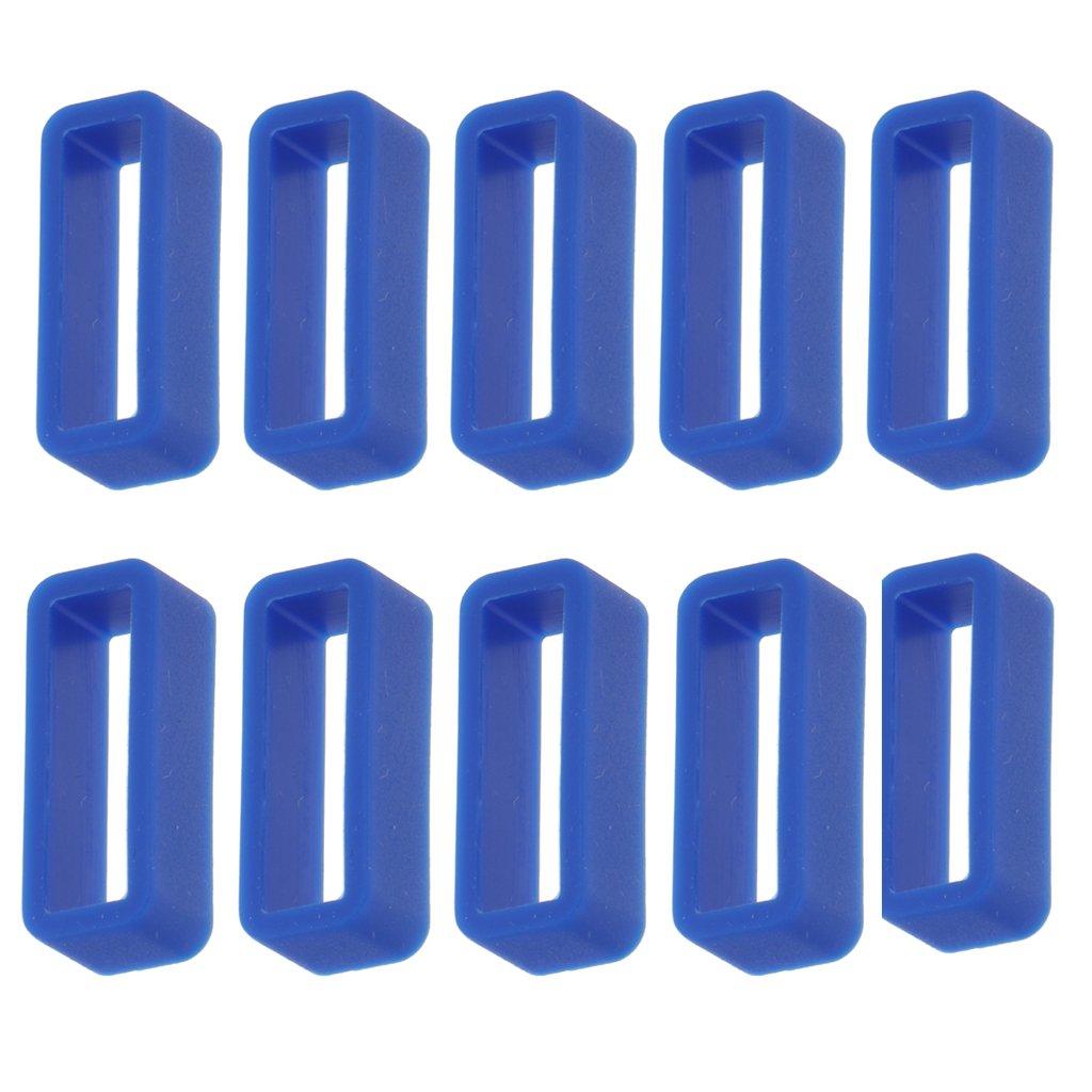 MagiDeal 10個入りキャンディカラーゴム交換用時計バンド/ストラップループ20 mm  ブルー B0788V9JTW