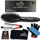 Portable Electric Straightener Hair Brush set Ceramic Matte Black with FREE Travel Bag Heat Protecting Glove Detangling Comb & more by Elizabeth, For Silky Stylish Trendy hair with LED Display