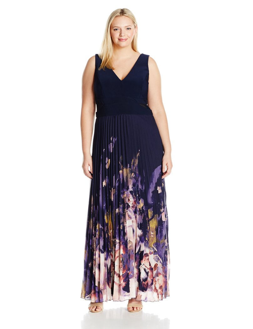Xscape Women's Plus Size Long Chiffon Floral Pleat with Ity Top, Navy/Multi, 20W