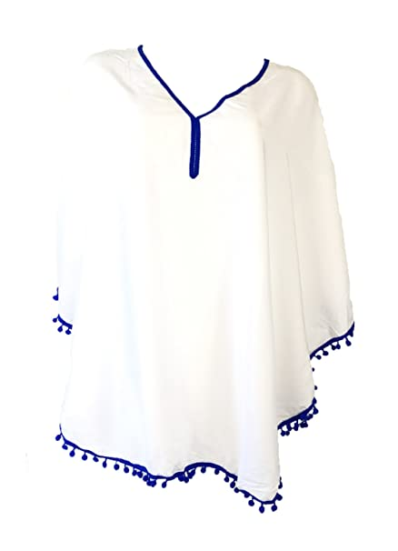 ddf03a0b14d66 Image Unavailable. Image not available for. Color  Blue Island Women s Pom  Pom Caftan Swim Cover ...