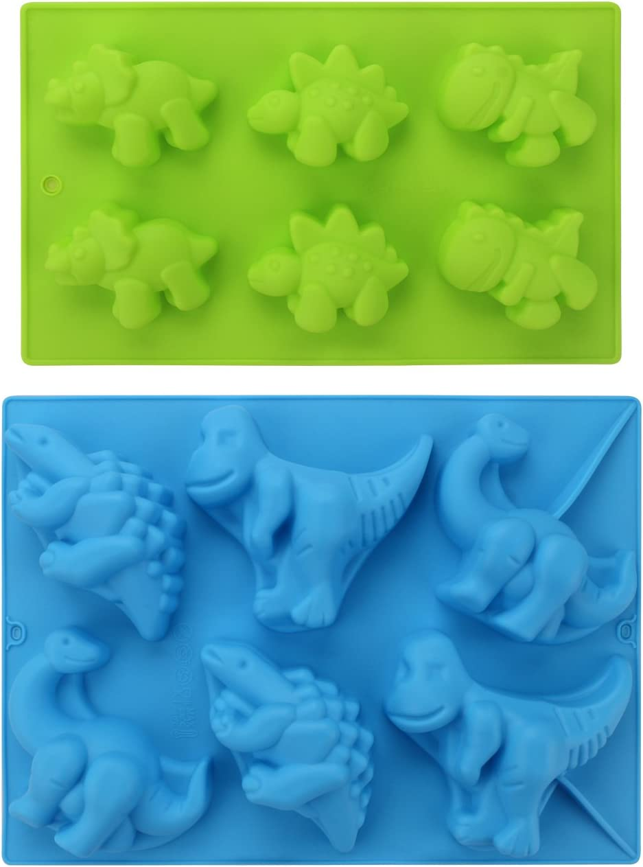 Dinosaur Silicone Molds, Beasea 2 Pack 3D Cake Mold Perfect for Dinosaur Gummies Chocolates Ice Cube Cake Decorations Baking Tools
