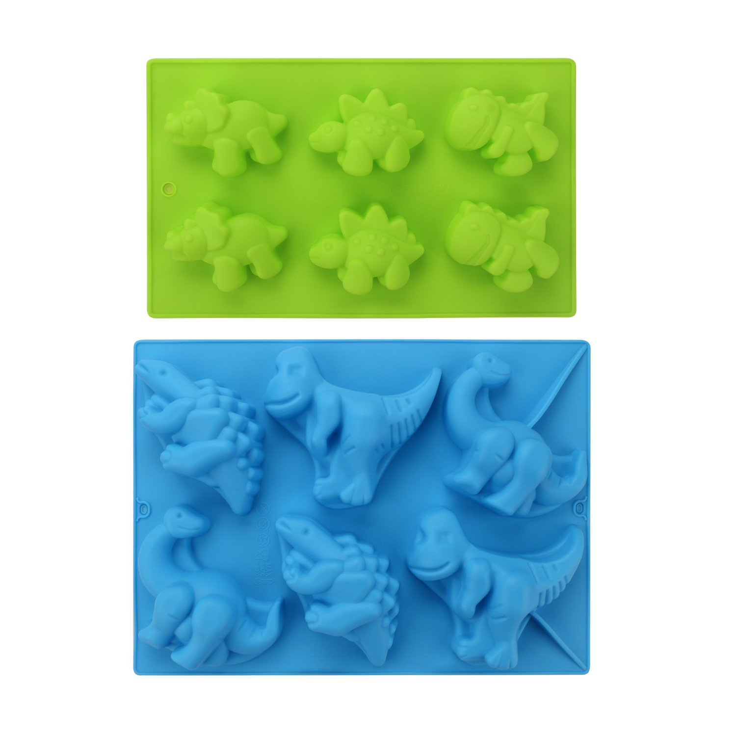Silicone Dinosaur Molds, Beasea (2 Pack) 3D Cake Mold Perfect for Dinosaur Gummies, Chocolates, Ice Cube Cake Decorations Baking Tools by Beasea