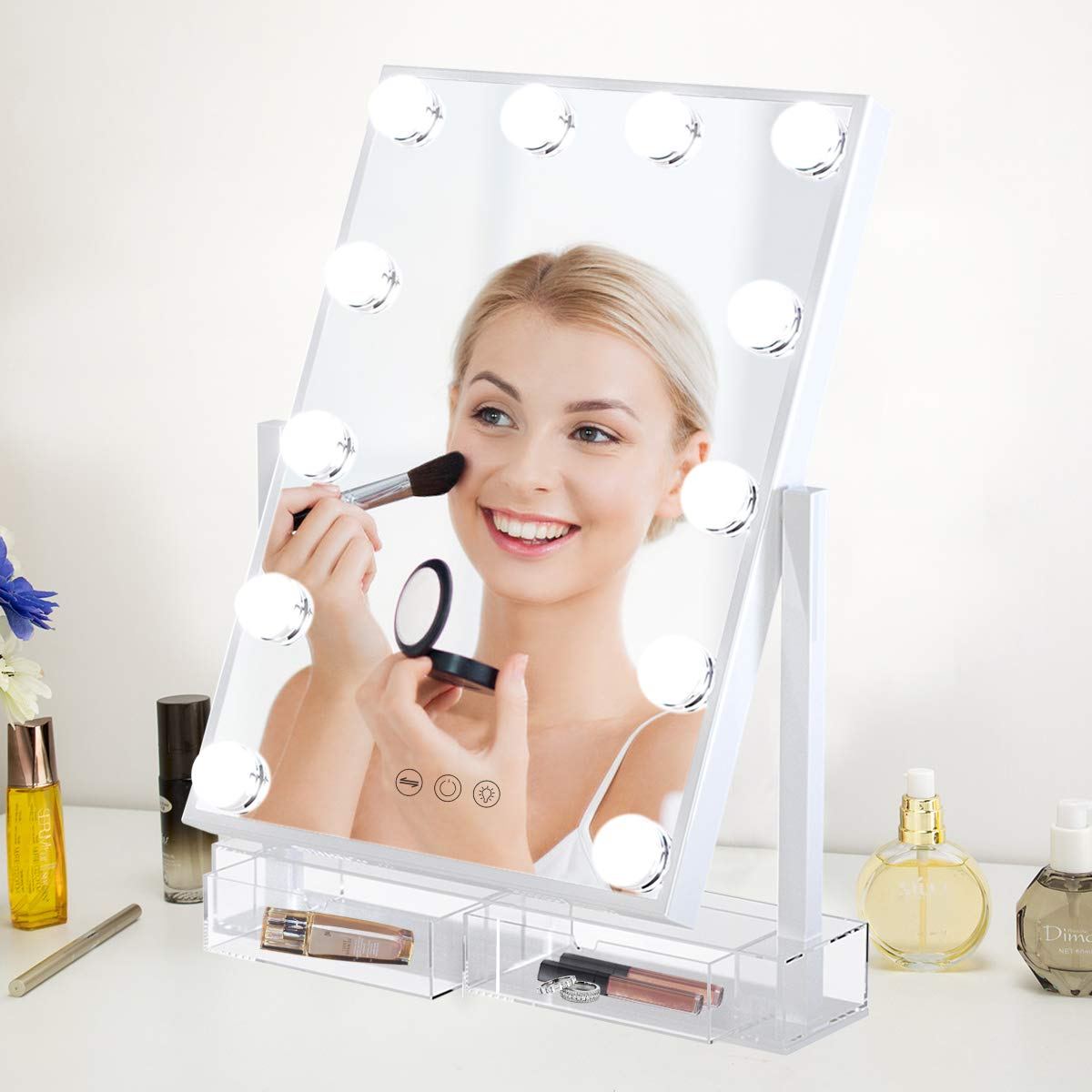 Vanity Mirror with Lights Lighted Makeup Mirror with Acrylic Comestic Organizer Dimmable LED Three Colors Light Bulbs Touch Control Design Free Roration Detachable 10X Magnification