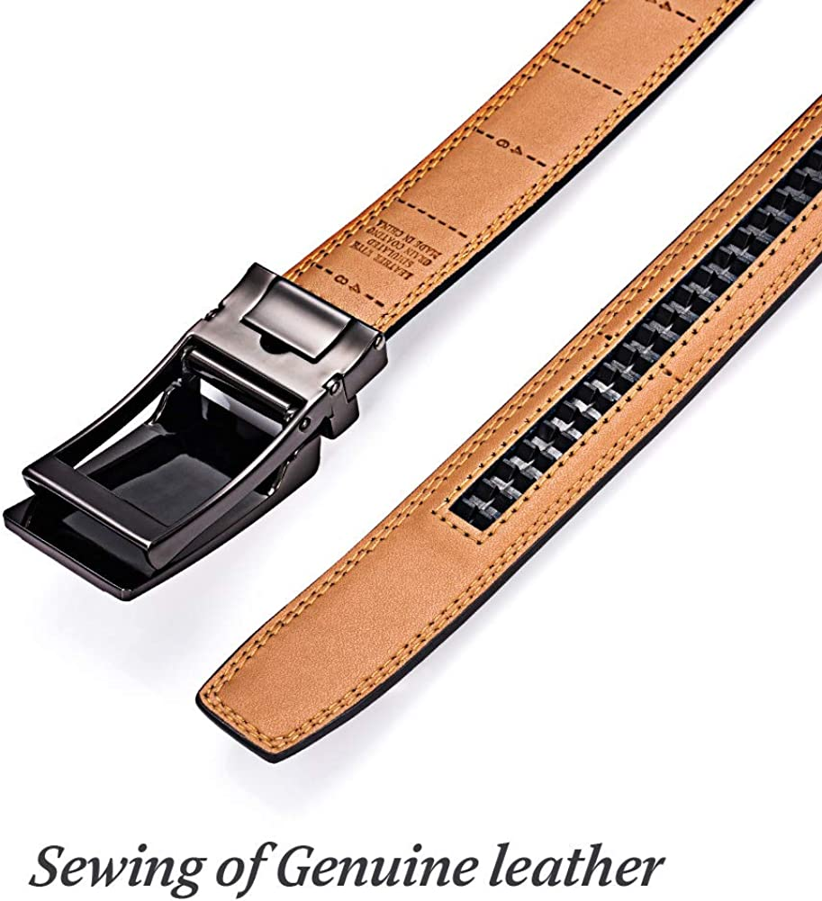 Mens belt Genuine Leather,Dress Belt with Click Buckle Classic /& Fashion Designs Reversible Belt Nice Gift Box