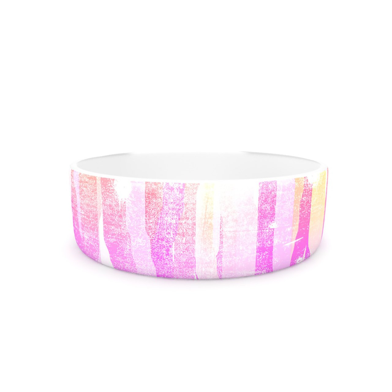 Kess InHouse Frederic Levy-Hadida Jungle Stripes Pink  Pet Bowl, 7-Inch, Yellow Painting