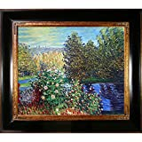 Hand-Painted Reproduction of Claude Monet Corner of the Garden at Montgeron Framed Oil Painting, 20 x 24