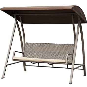 Porch Swing Outdoor Lounge Chair Seats 3 Patio PE Wicker Glider Bench With  Steel Frame And