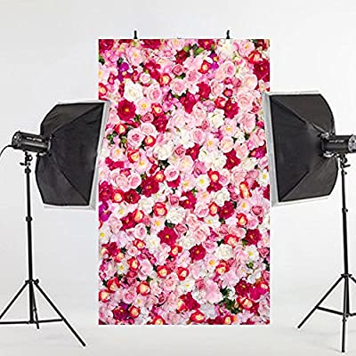 3x5ft Vinyl Cloth Romantic Colorful Flowers Wooden Floor Studio Photo Photography Background Studio Backdrop Props best for Wedding, Personal Photo, Wall Decor, Baby, Children, Kids, Newborn Photo