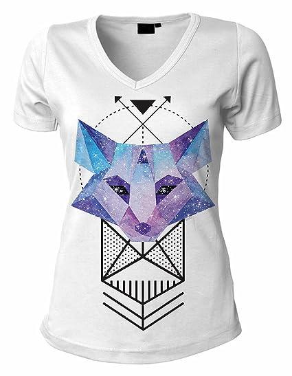 0759f6f884f98 Junior s Sacred Geometric Galaxy Fox B187 PLY White V-Neck T-Shirt ...