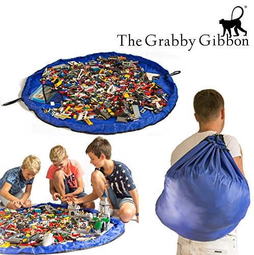 The Grabby Gibbon - 60 inch Toy Storage Bag - Toy Organizer Bag and Kids Floor Activity Mat - Multi Purpose Play Bag - Quick Pouch for Storing Small and Medium Size Toys - Picnic Bag (BLUE) (Storing Toys)
