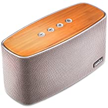COMISO 30W Bluetooth Speakers with Dual Super Bass Driver, Bamboo Wood Home Speaker with Subwoofer - (Grey)
