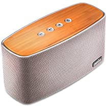 COMISO 30W Bluetooth Speakers with Dual Super Bass Driver, Bamboo Wood Home Speaker with Subwoofer