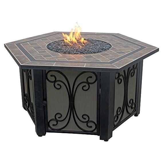 Amazon.com: Uniflame 41.75 en. Hexágono Slate Tile propano ...