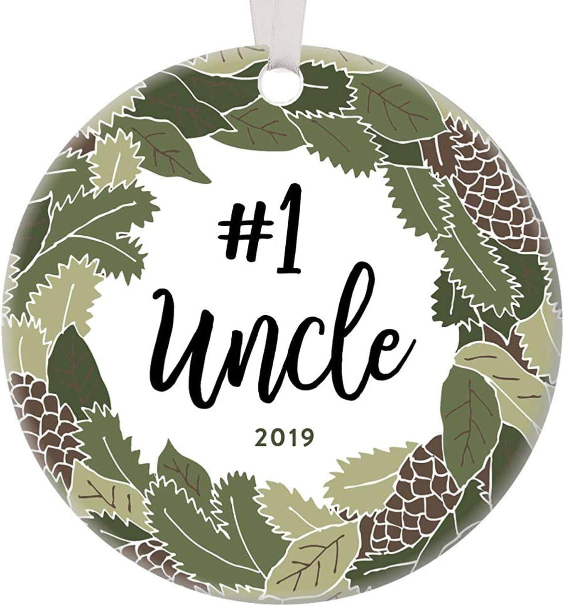Adorno navideño de 3 pulgadas, favorito número 1 tío, adorno de navidad para hermano en la ley, regalo de embarazo, anuncio de nuevo sobrino, bautizo, padrino, recuerdo rústico, árbol de Navidad