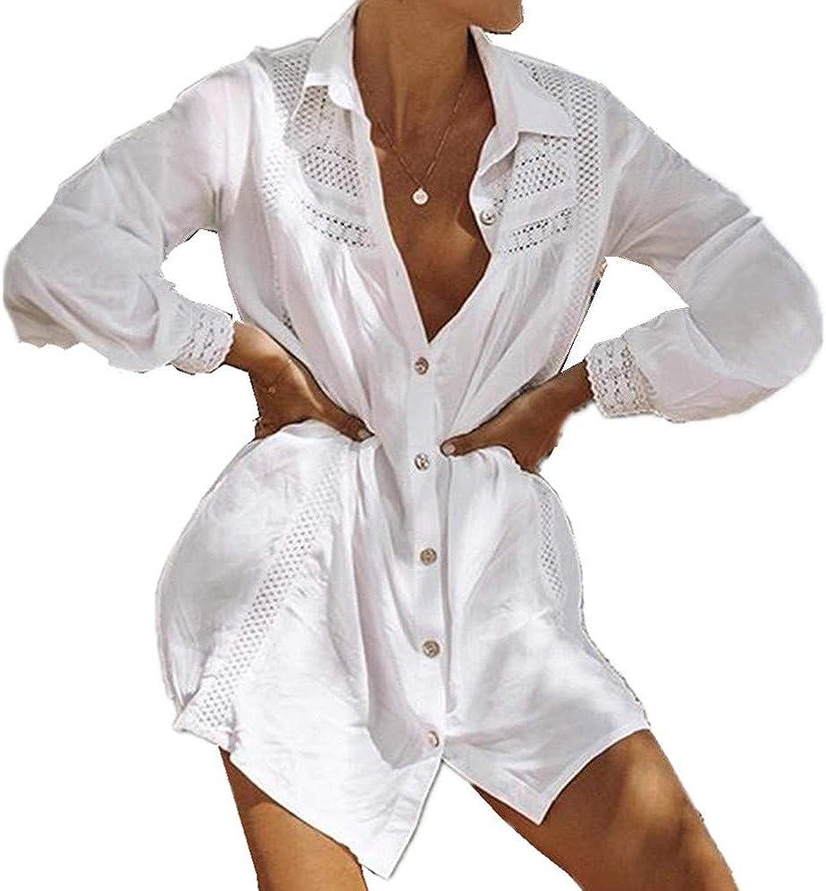 L-Peach Damen Bikini Cover Up Sommer Lose Baumwolle Spitze Tunika Langes Shirt /Überwurf Baumwolle Strandkleid Sommerkleid One Size