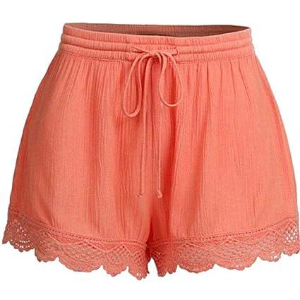 calidad y cantidad asegurada al por mayor hermosa en color haodene Mujer Short para pinzas de encaje talla alta con ...