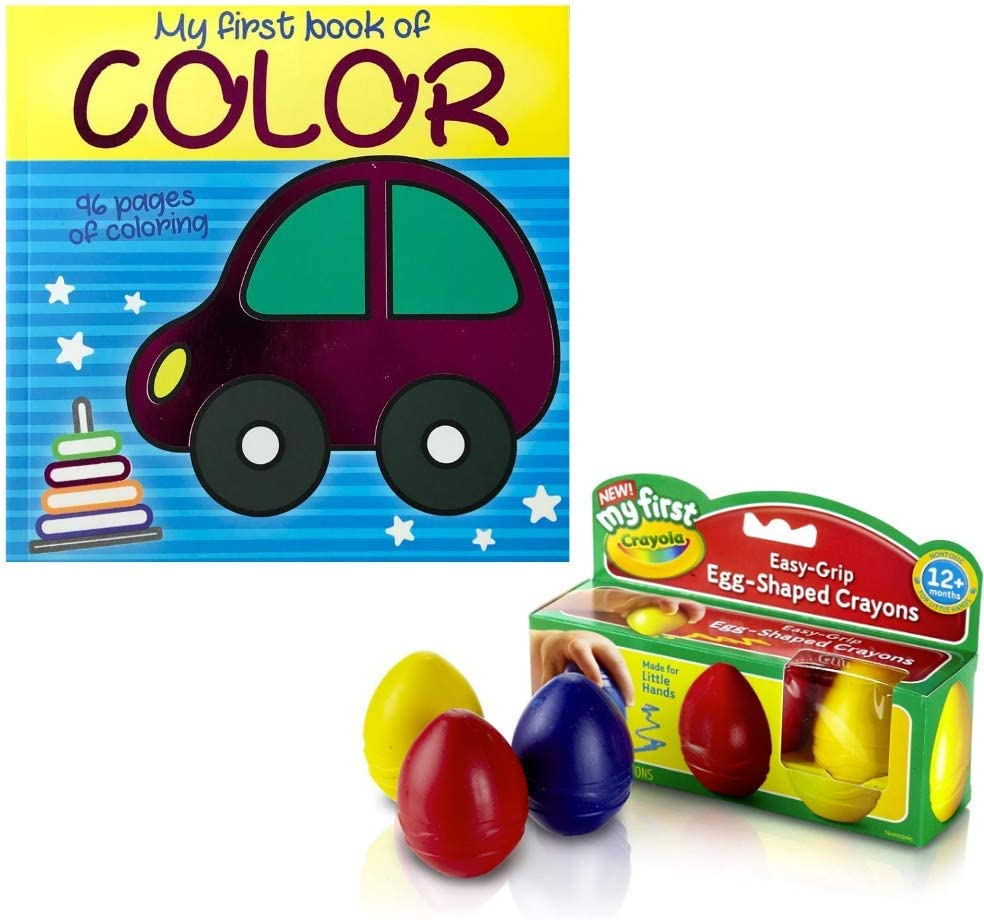 Non-Toxic My First Palm Grip Egg Crayons /& My First Coloring Book Bundle