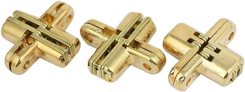 Aexit Puerta corredera de armario plegable con bisagra cruzada 42 mm de (model: O4028IIIVII-8550PT) longitud dorada 3pcs: Amazon.es: Bricolaje y herramientas