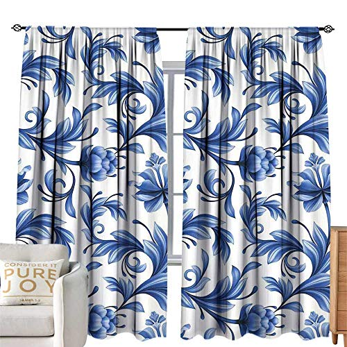 cobeDecor Half Blackout Curtains: Vintage Blue Abstract Pattern with Russian Folk Art Flowers Traditional Gzhel Ornament Blue and White Bedroom Balcony Living Room W120 xL84 ()