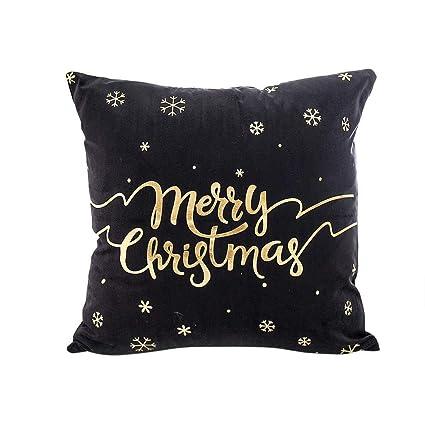 Qiusa Funda de cojín Merry Christmas, Funda de Cama de sofá ...